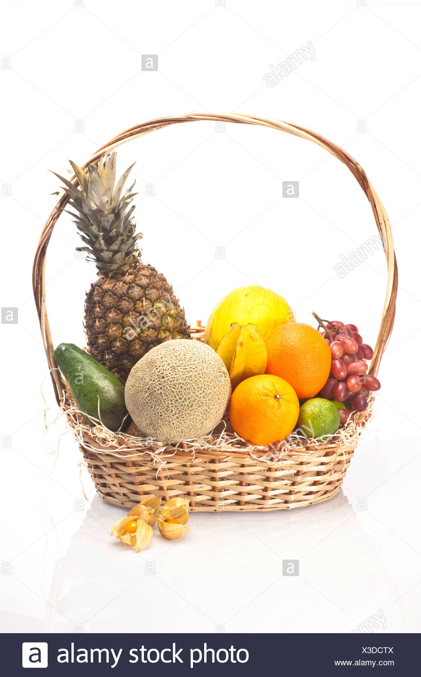 Lieblings Exotic fruit in a basket, pineapple, melons, grapes, oranges, lime @UR_96