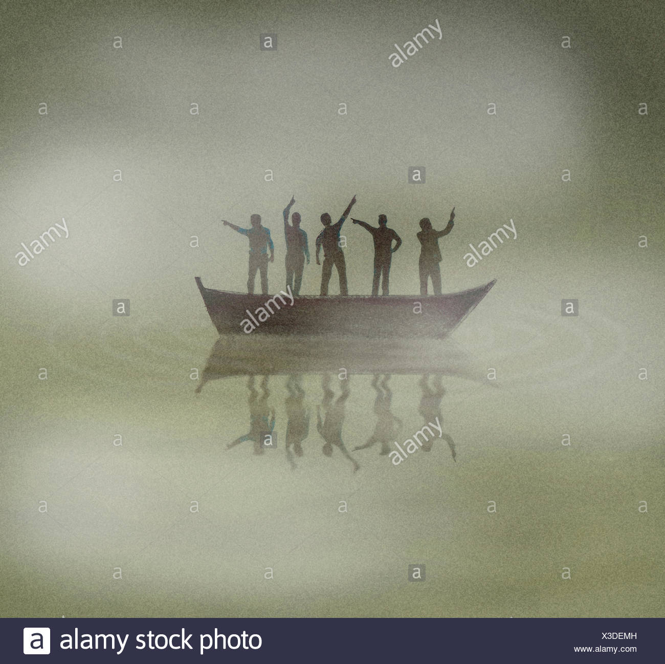 People on boat lost in fog pointing in different directions - Stock Image