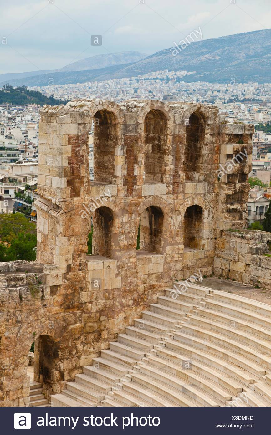 Odeón or Theatre of Herodes Atticus, Acropolis, Athens, Greece. - Stock Image