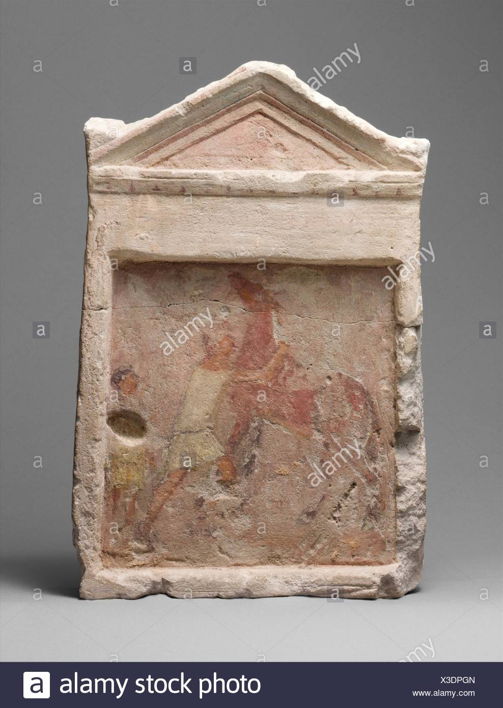 Painted limestone funerary slab with a man controlling a rearing horse. Period: Hellenistic; Date: 2nd half of 3rd century B.C; Culture: Greek; - Stock Image