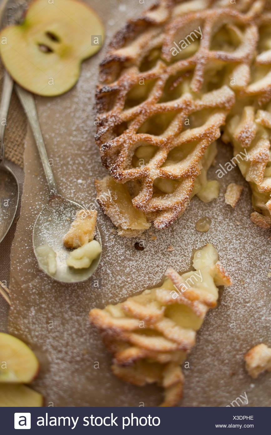 Top view, apple pie lattice with fresh apples - Stock Image