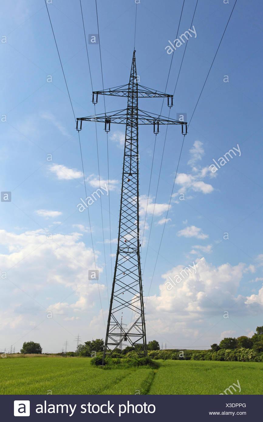 electricity pylon, Germany - Stock Image