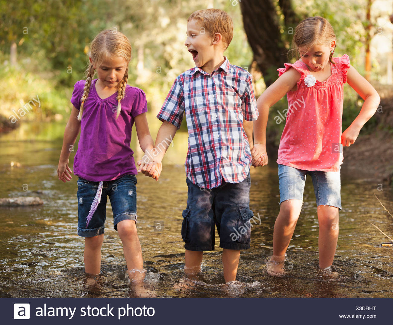 USA, Utah, Lehi, Three kids( 4-5, 6-7) holding hands and walking together in small stream - Stock Image