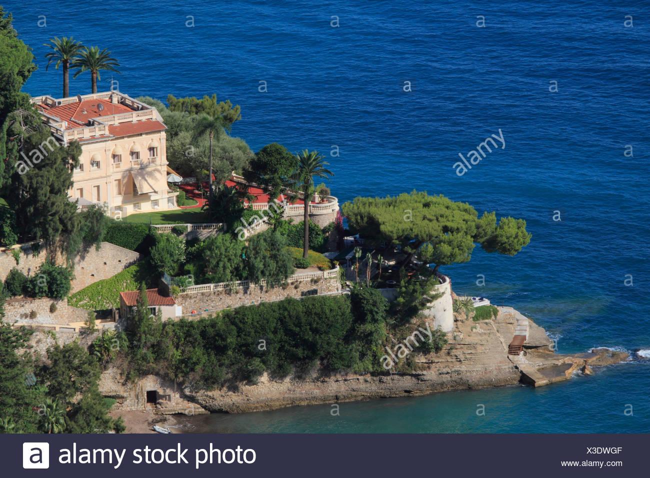 Luxury seaside villa, Roquebrune Cap Martin, Département Alpes Maritimes, Région Provence Alpes Côte d'Azur, France, Europe Stock Photo