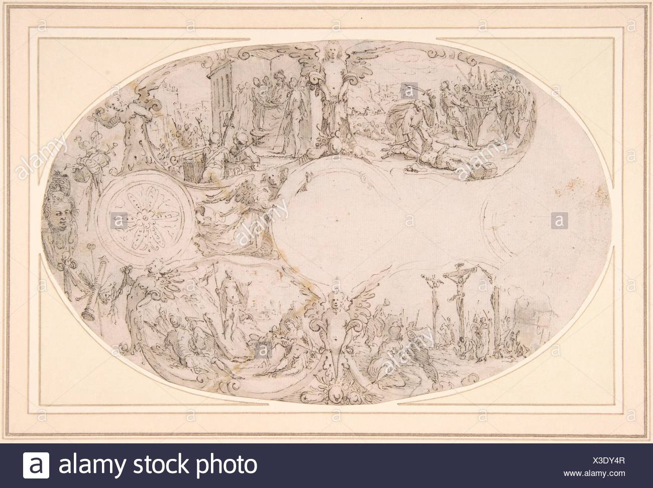Design for a Silver Vessel with Scenes from the Passion of Christ. Artist: Paulus Willemsz. van Vianen (Netherlandish, Utrecht ca. 1570-ca. 1613/14 Stock Photo