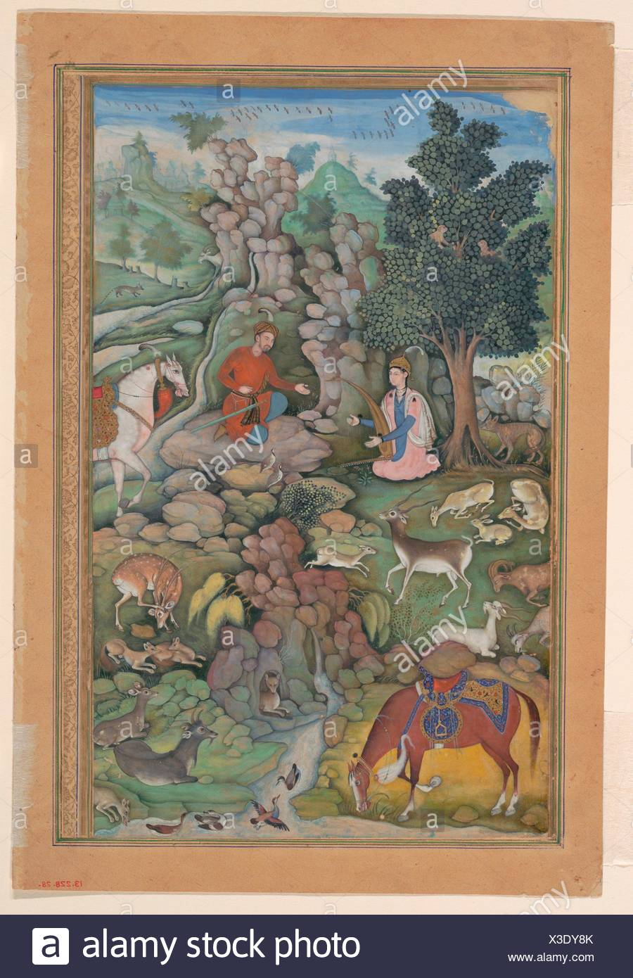 Bahram Gur Sees a Herd of Deer Mesmerized by Dilaram' s Music, Folio from a Khamsa (Quintet) of Amir Khusrau Dihlavi. Poet: Amir Khusrau Dihlavi - Stock Image