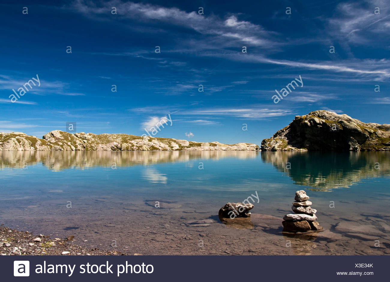Cairns in the Schottensee lake below the Pizol massif, Bad Ragaz, Heidi country, Canton St. Gallen, Switzerland, Europe Stock Photo