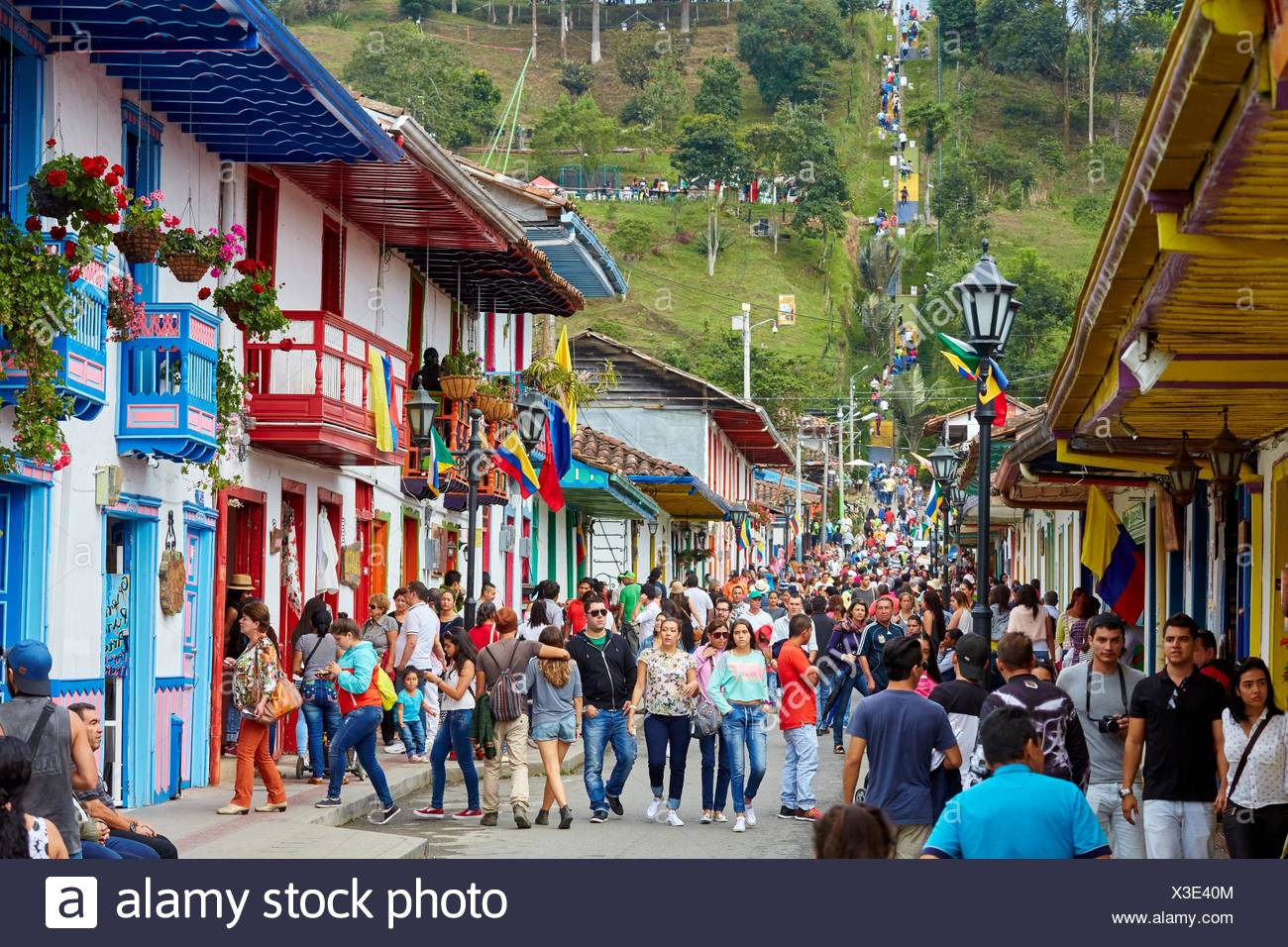 Calle Real Salento Quindio Colombia South America Stock Photo Alamy