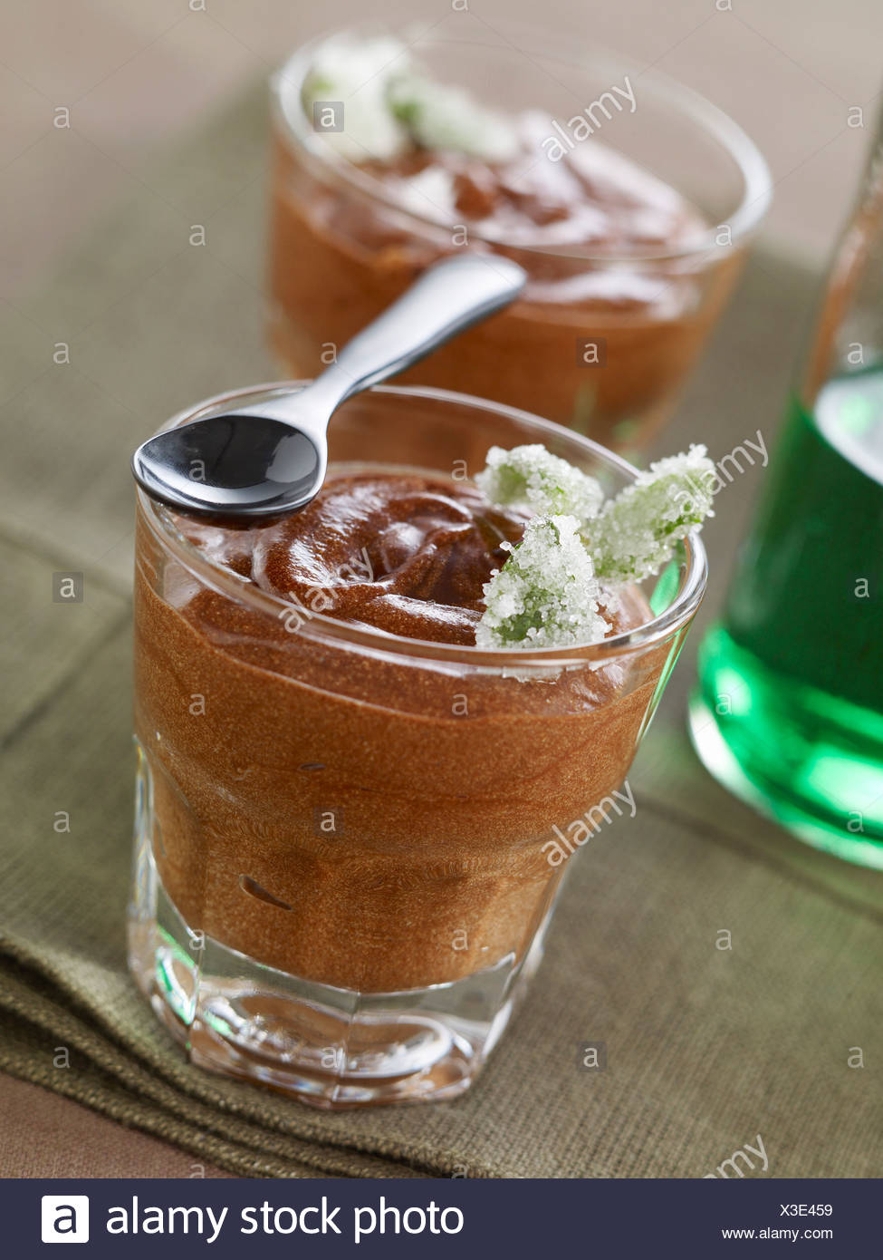 Chocolate and mint liqueur mousse - Stock Image