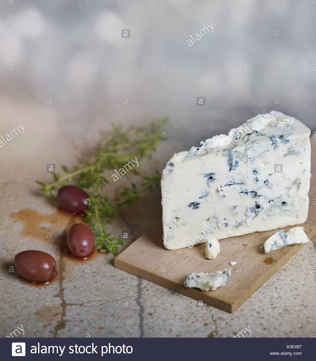 Blue Cheese and Olives - Stock Image