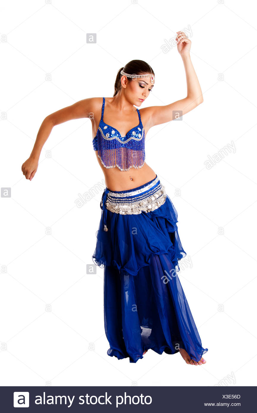 51d06c5c3 Beautiful Arabic belly dancer harem woman in blue with silver dress and  head jewelry with gem dancing twirling her arms, isolated.