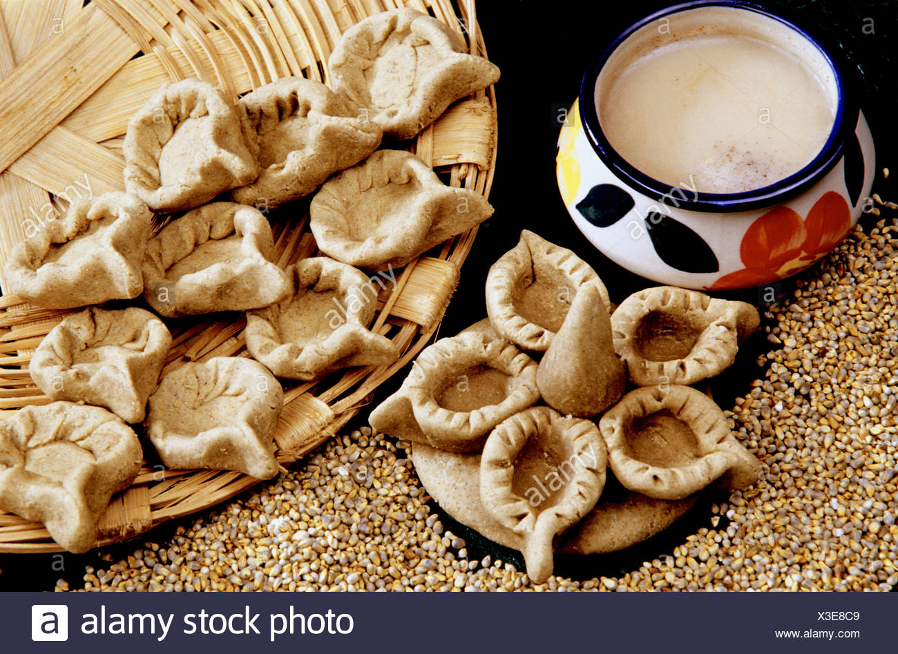 A spoon shaped recipe made from Bajra (Pennisetum glaucum). - Stock Image