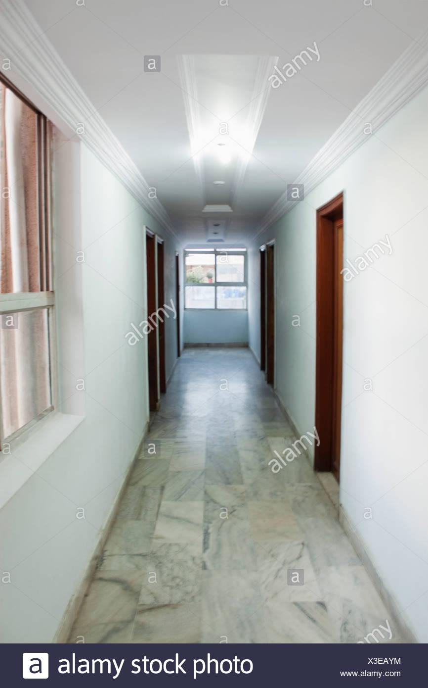 Corridor of a hotel, Ahmedabad, Gujarat, India - Stock Image