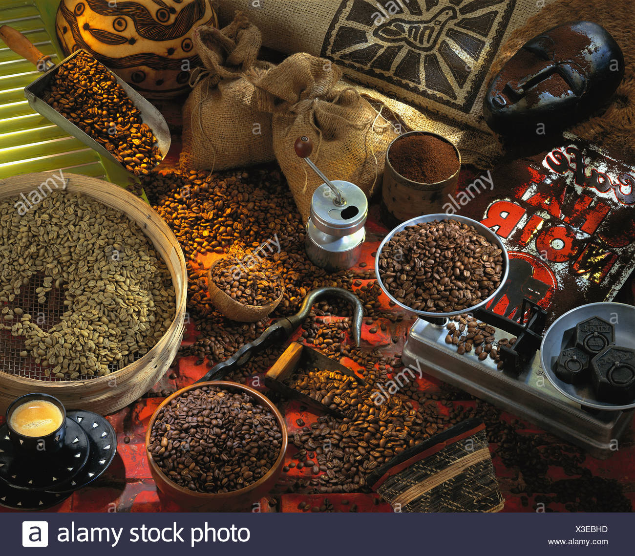 selection of coffee beans - Stock Image
