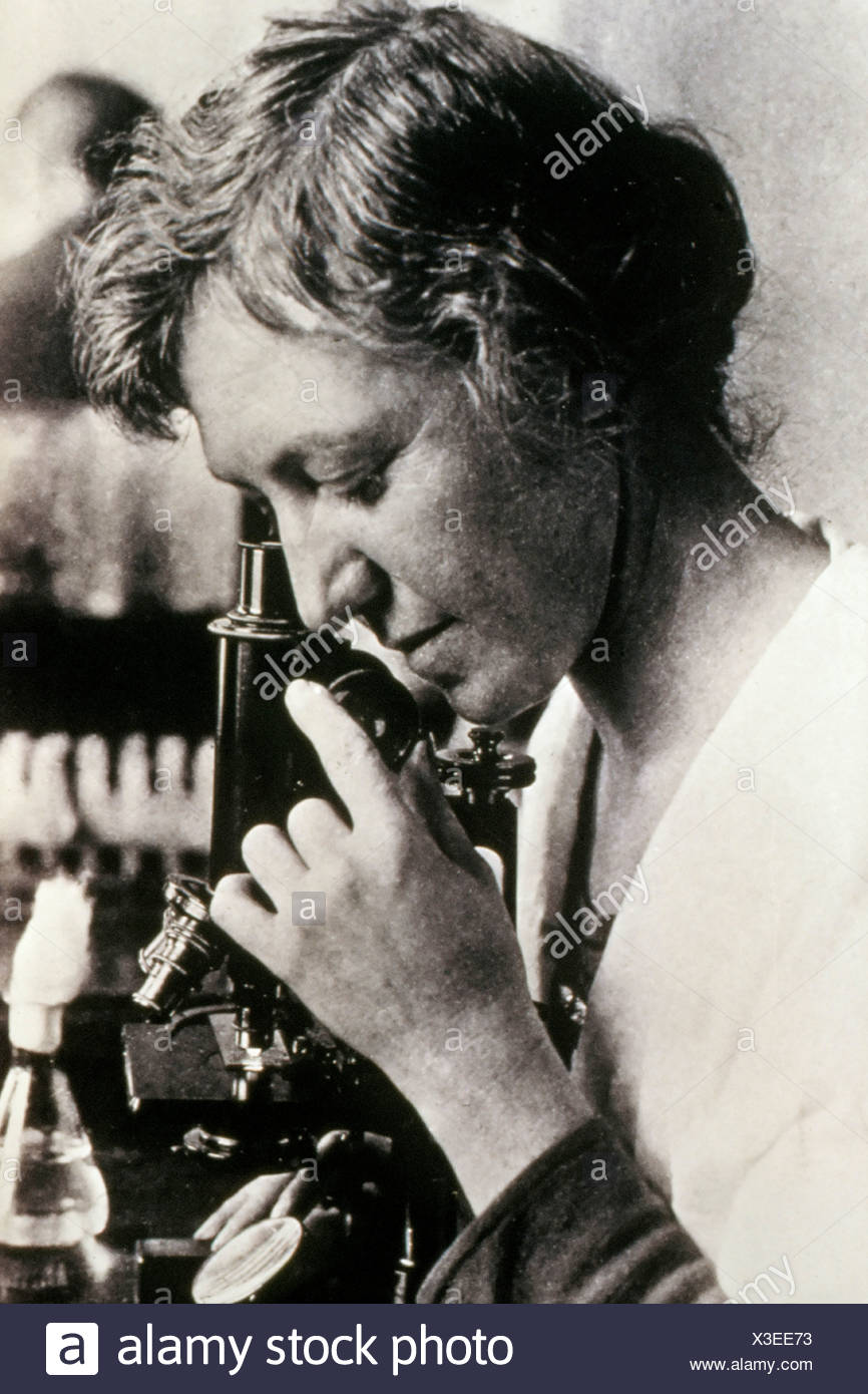 Bacteriologist Dr. Ida A. Bengston (1881-1952) uses microscope in image U.S. Public Health Service records. Dr. Bengston was - Stock Image