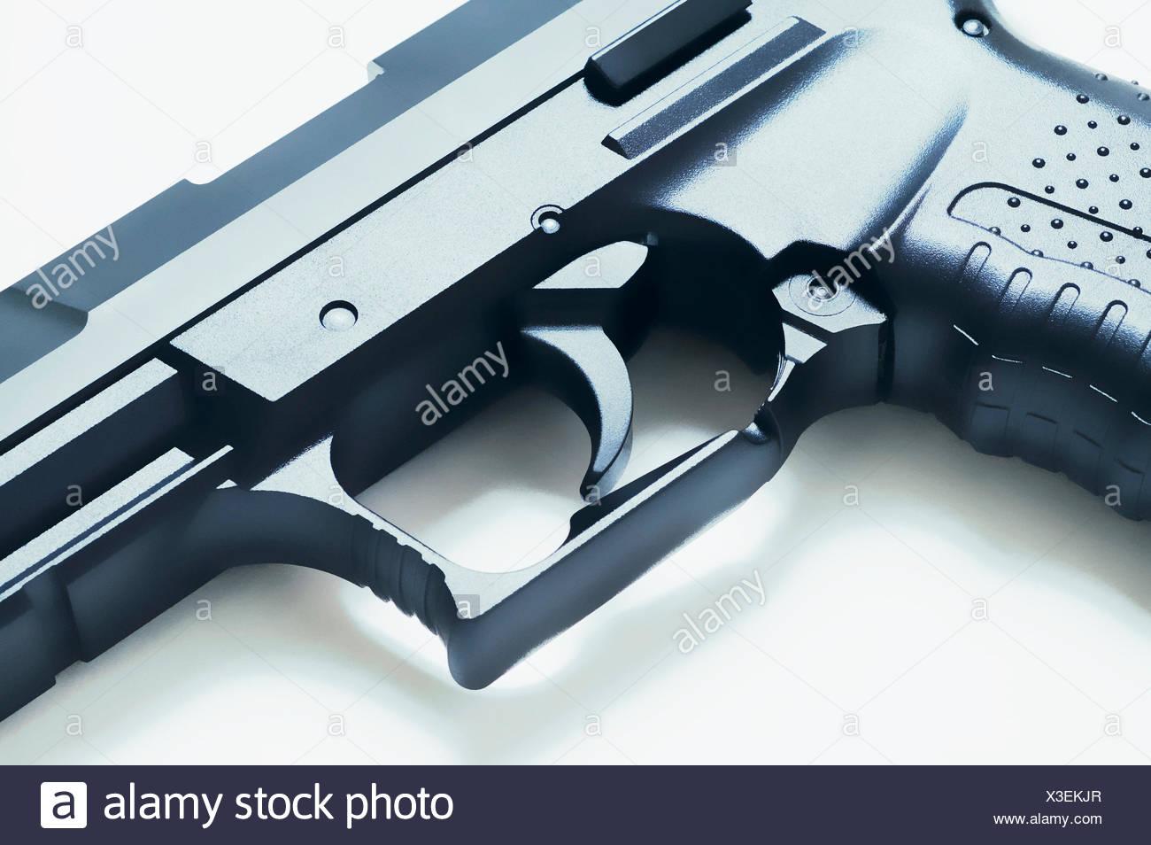 Close-up of trigger on a handgun - Stock Image