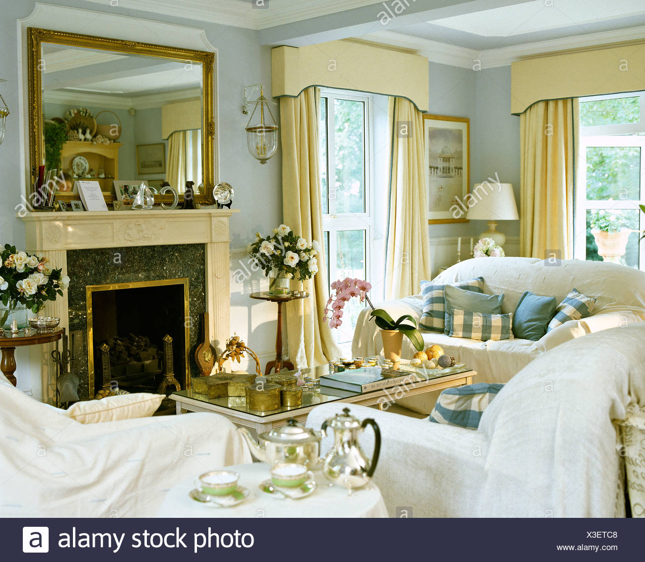 White throws on sofas in pale blue living room with large ...