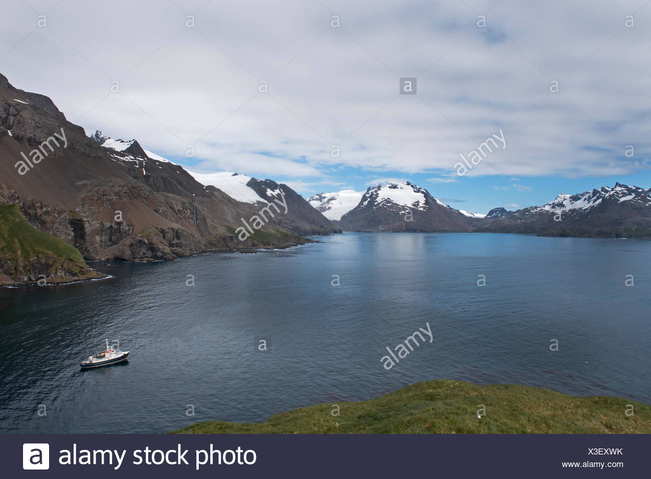 The Hans Hansson moored in Wilson Harbour, South Georgia - Stock Image