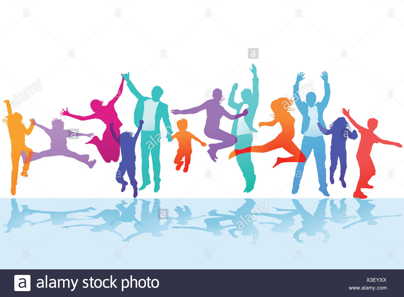Families cheer and rejoice - Stock Image