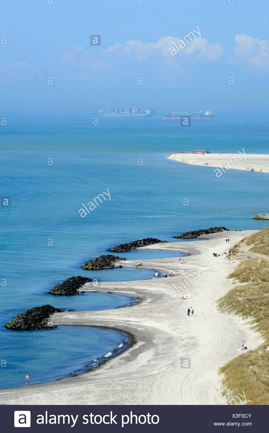 Headland where the North Sea and the Baltic Sea meet, container ships at back, Skagen, Jutland, Denmark, Europe - Stock Image