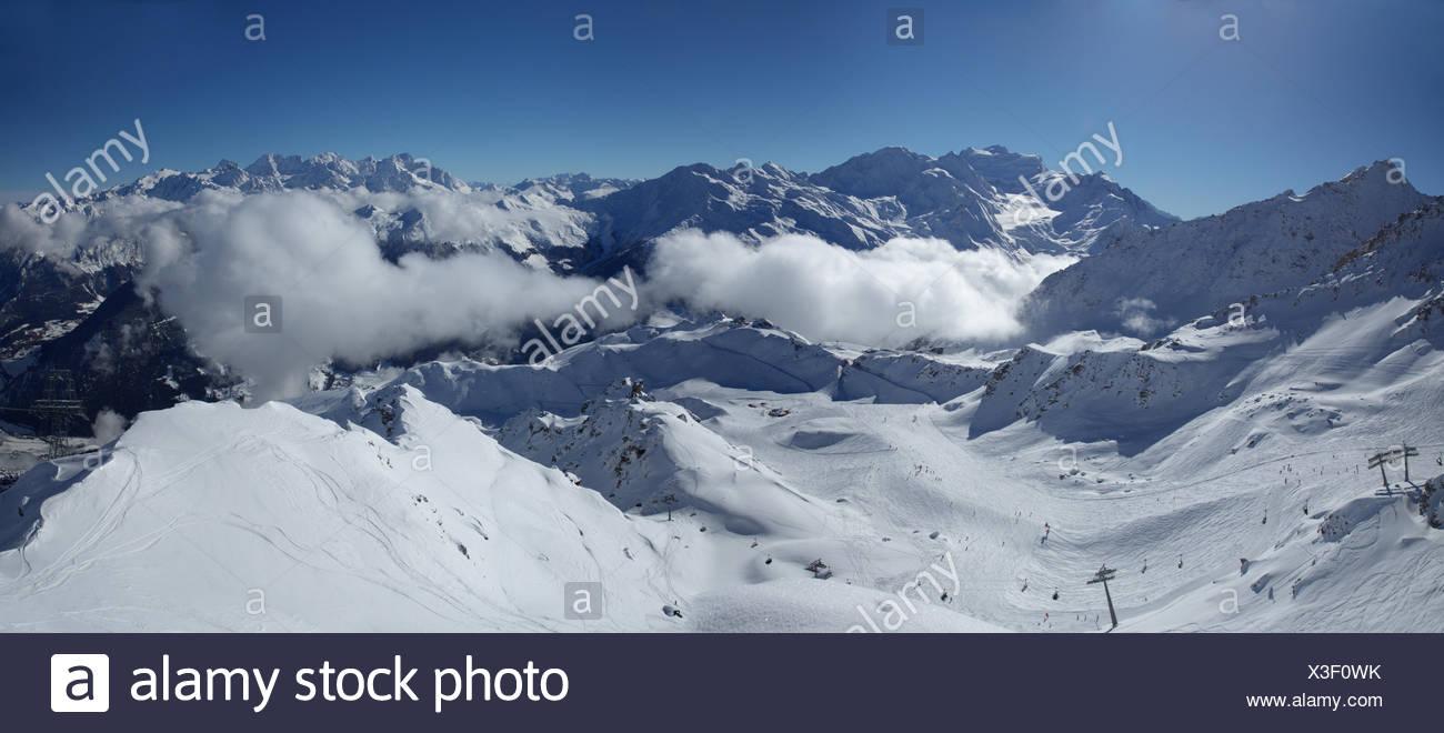 Winter, skiing area, Verbier, Grand Combin, winter, canton, VS, Valais, mountain, mountains, ski, skiing, Carving, Switzerland, Stock Photo