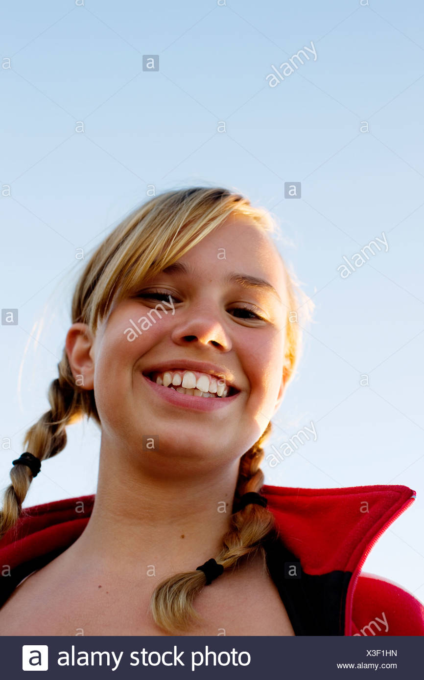 Portrait of a girl Stockholm archipelago Sweden. - Stock Image