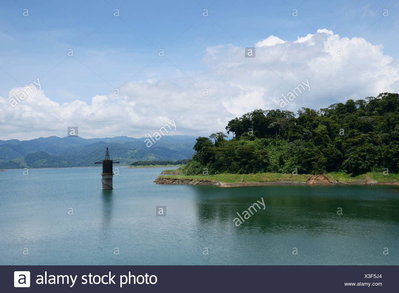 Arenal dam at the foot of the Arenal volcano, La Fortuna, Costa Rica, Central America - Stock Image