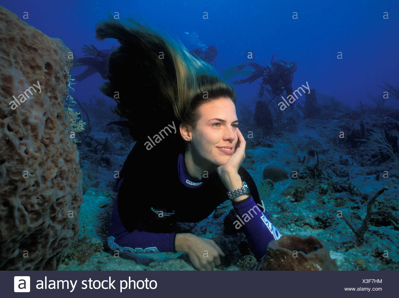 MEHGAN HEANEY GRIER FEMALE FREE DIVER IN KEY LARGO FLORIDA - Stock Image