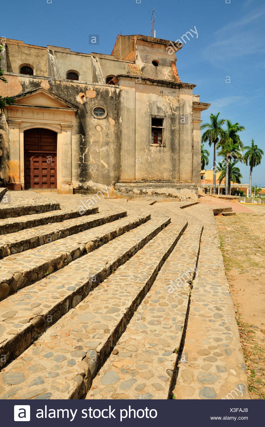 Iglesia Parroquial de la Santísima, Church of the Holy Trinity, Trinidad, Cuba, Caribbean - Stock Image