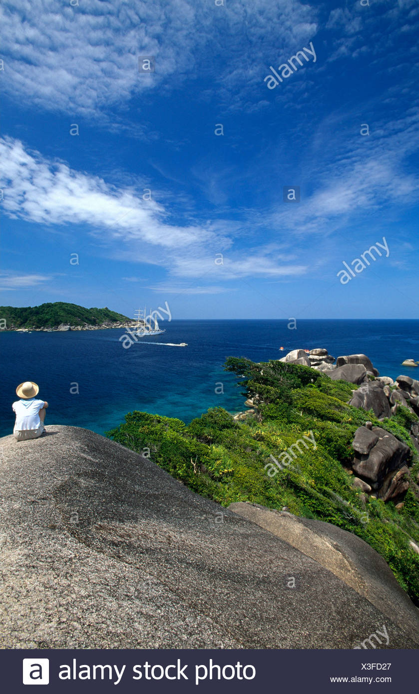 View of a cruise sailing ship off Koh Similan near Phuket, Thailand, Southeast Asia - Stock Image