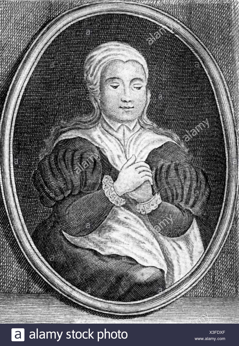 Morata, Olympia Fulvia, 1526 - 26.10.1555, German humanist of Renaissance and baroque period, half length, wood engraving after contemporary copper engraving, Artist's Copyright has not to be cleared - Stock Image