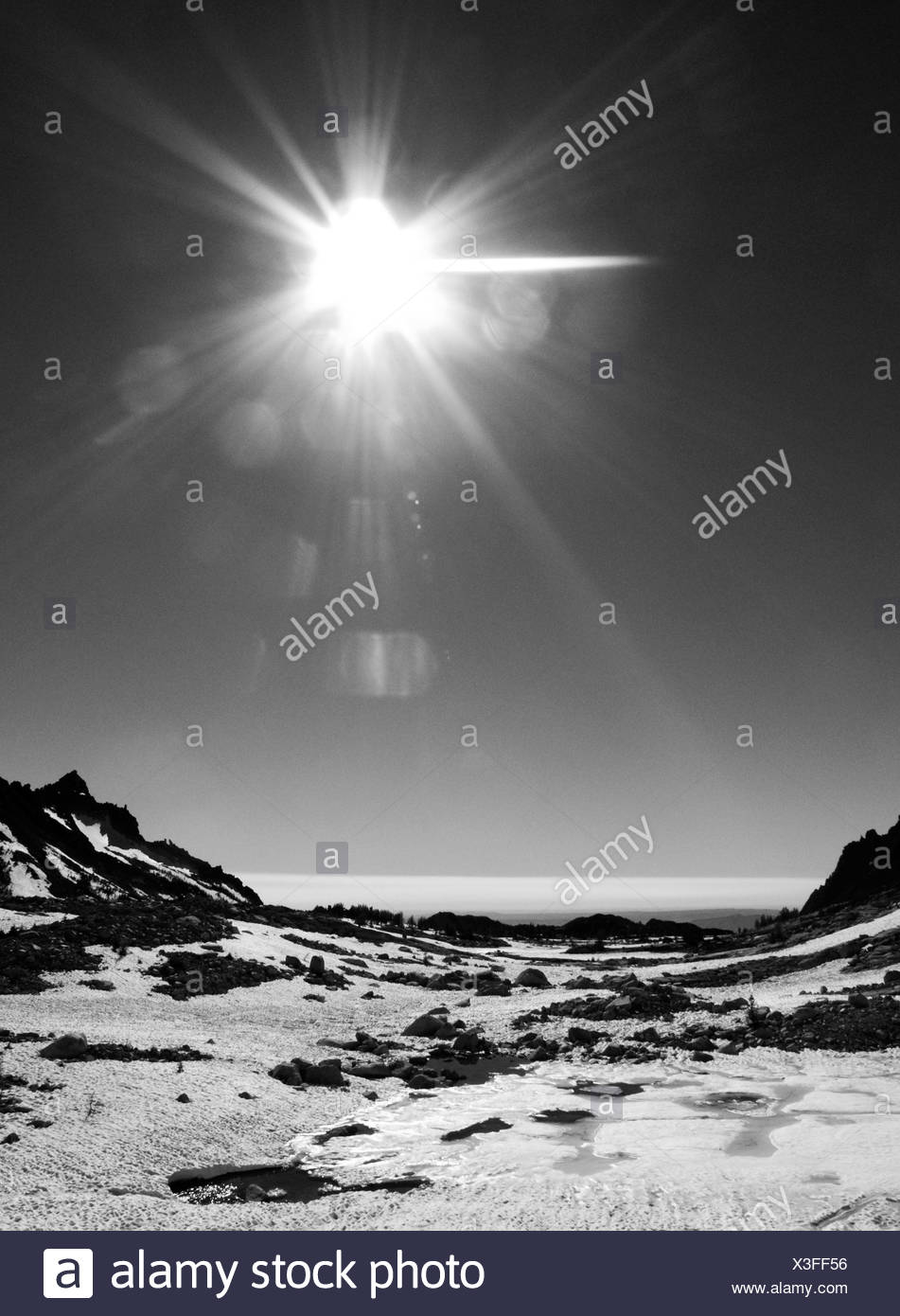 Black and white image of the bright sun over a snowy landscape - Stock Image