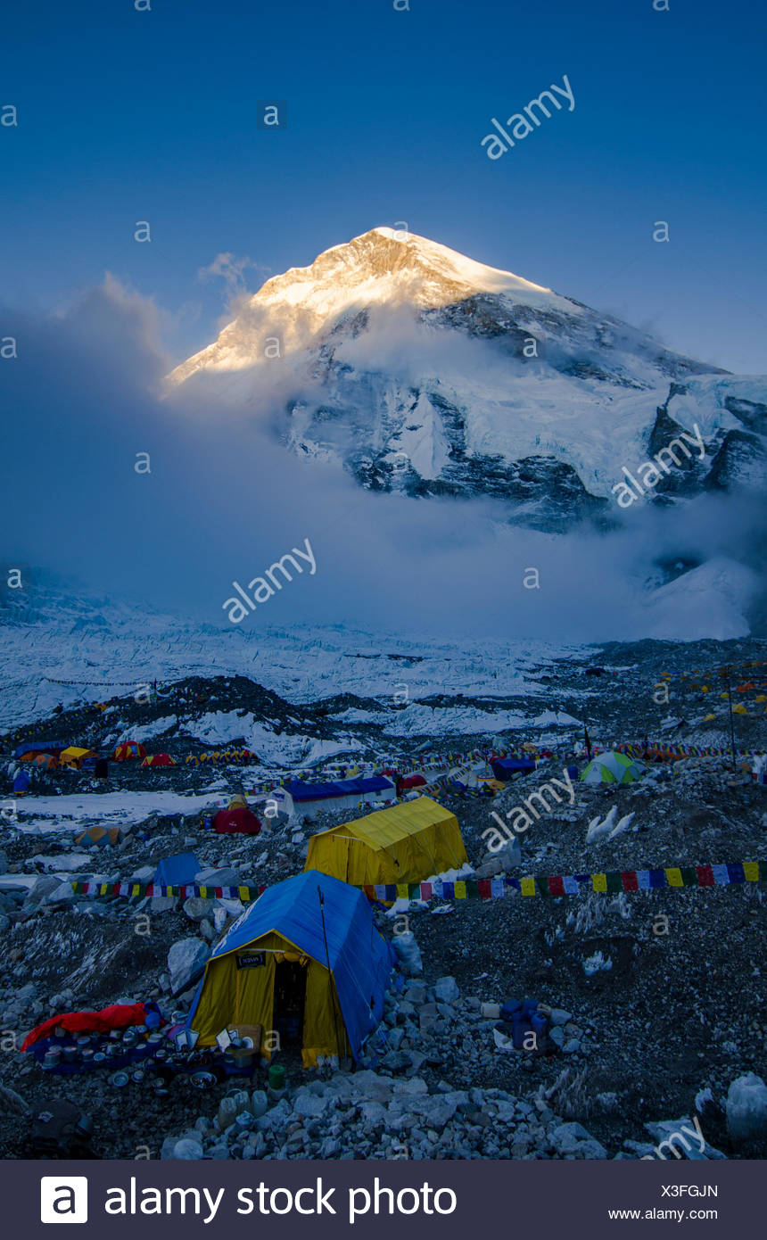 Majestic scenery with West Shoulder of Mount Everest rising above Mount Everest Base Camp,Solukhumbu District,Nepal - Stock Image