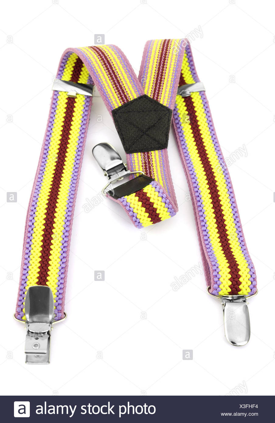 Kids colored suspenders - Stock Image