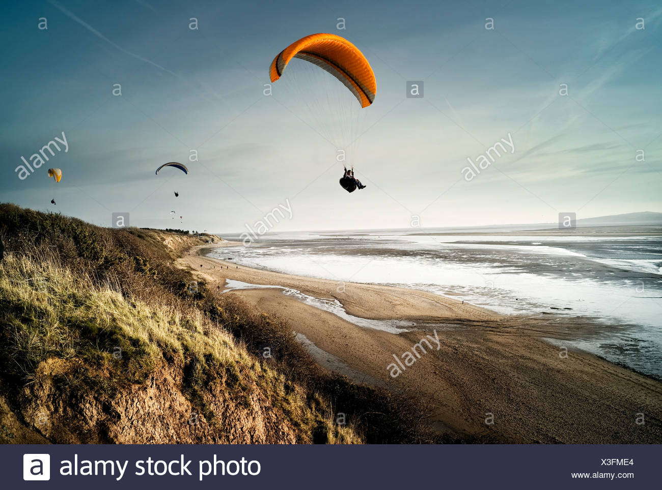 Hang gliders over beach - Stock Image