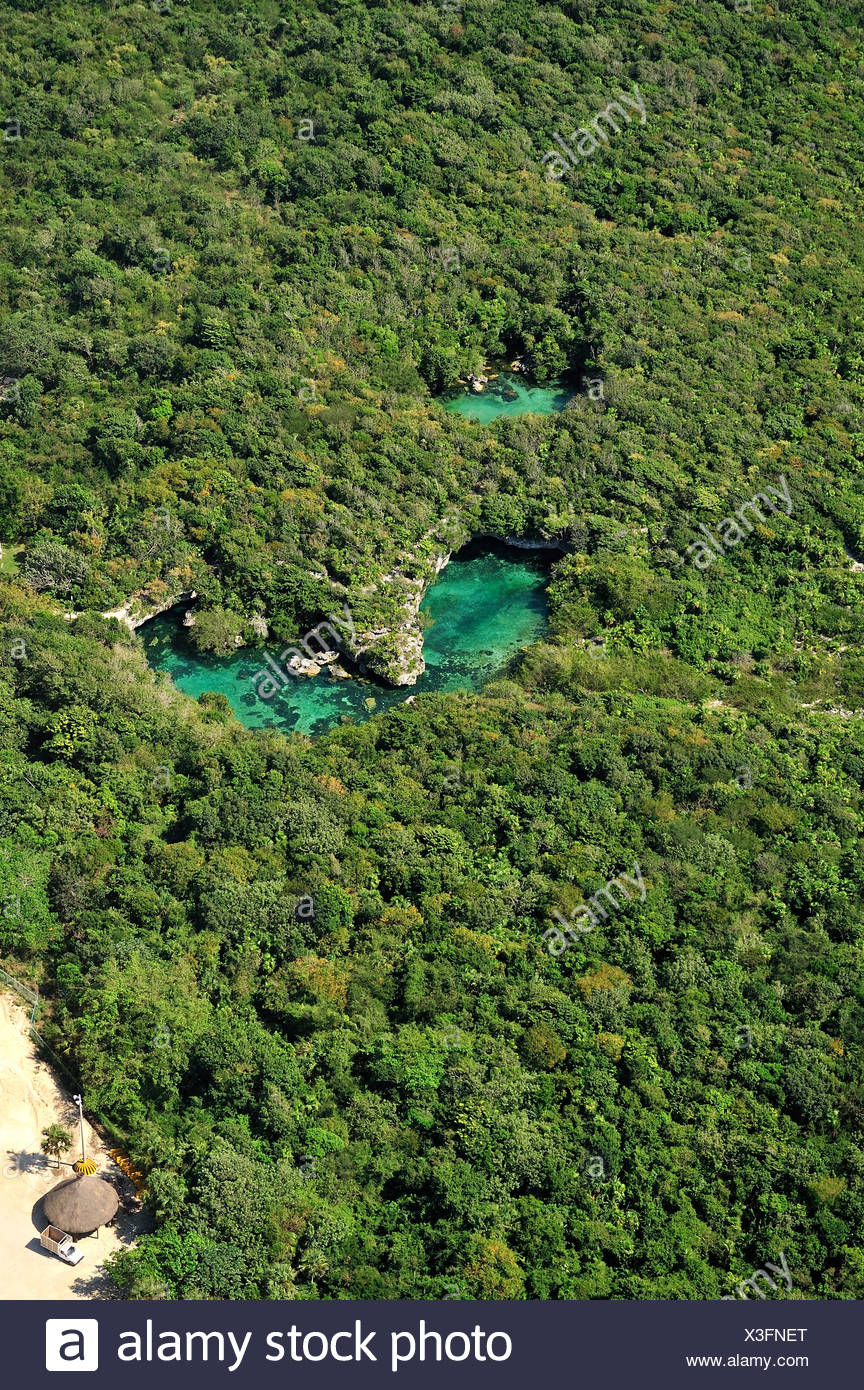 Aerial view of the cenotes, freshwater holes located all over the Yucatan peninsula, Mexico Stock Photo