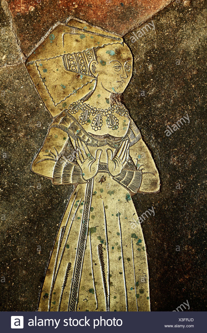 Blickling church, Norfolk, monumental brass to Isabel Boleyne, Boleyn, 1485, ancestor of Anne Boleyn, England UK brasses - Stock Image