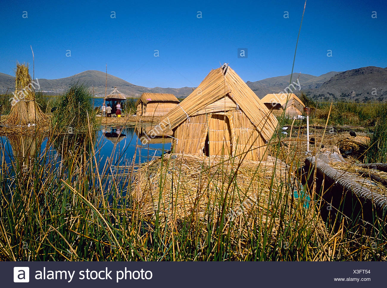 Urus, reed islands at the Titicacasee, Peru - Stock Image