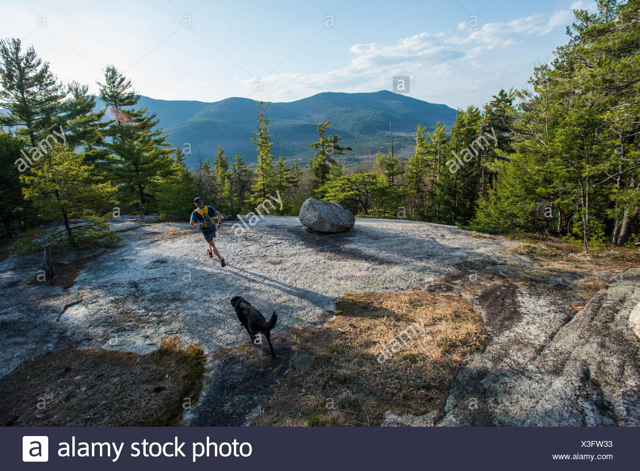 An afternoon trail run with man's best friend. - Stock Image