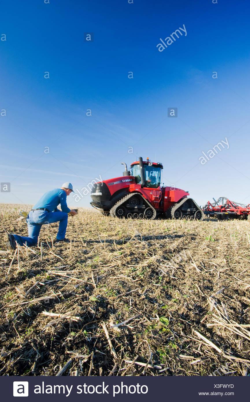farmer in field /Quad-Trac tractor and air seeder planting winter wheat in a zero till field in the background, near Lorette, Manitoba, Canada - Stock Image