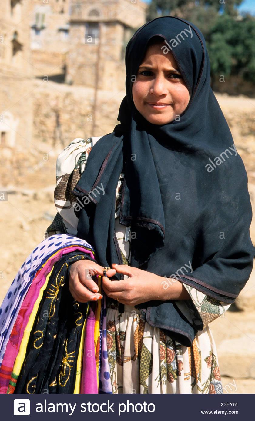 Yemeni girl, Sanaa, Yemen, Middle East - Stock Image