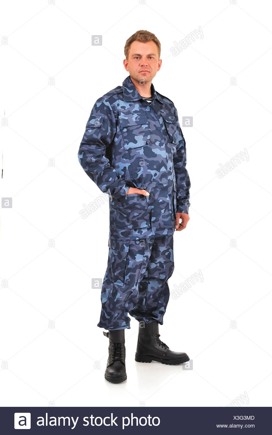 man in blue camouflage Stock Photo
