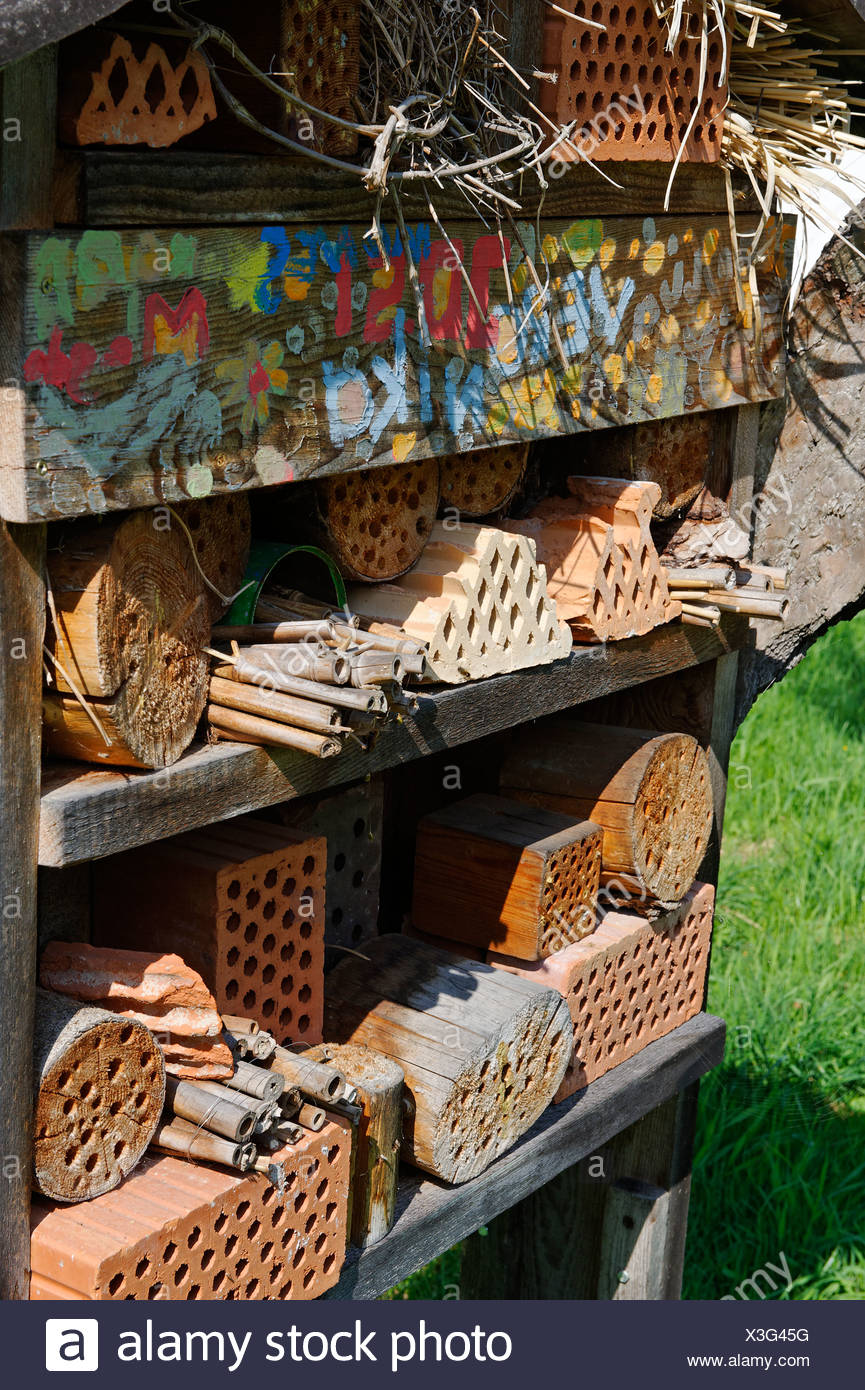 Hotel for wild bees and insects, Insect Hotel, natural gardening, Niederaudorf in the Bavarian Inn Valley, Upper Bavaria - Stock Image