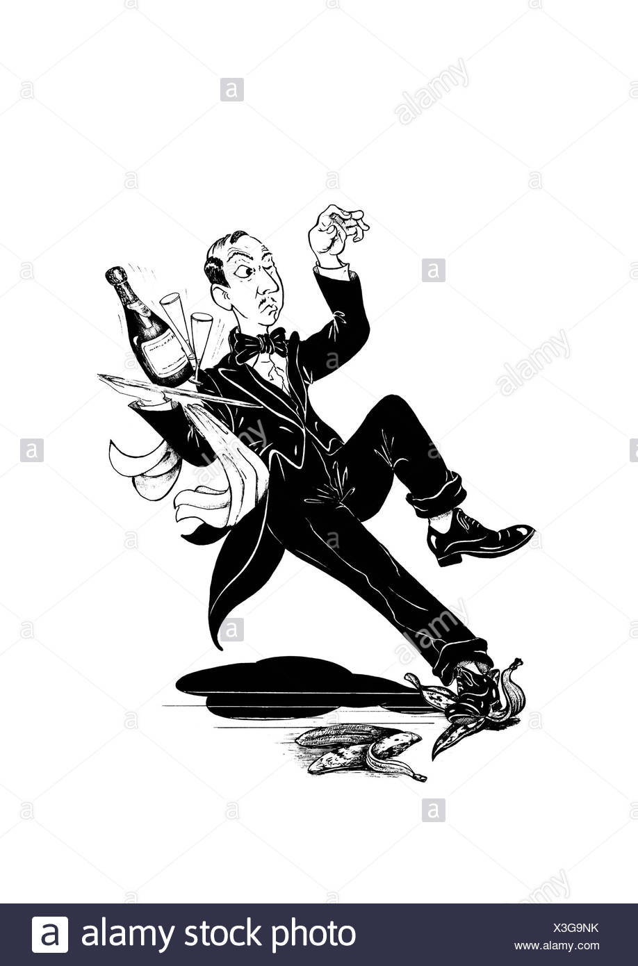 Waiter slipping on a banana peel with full tablet - Stock Image