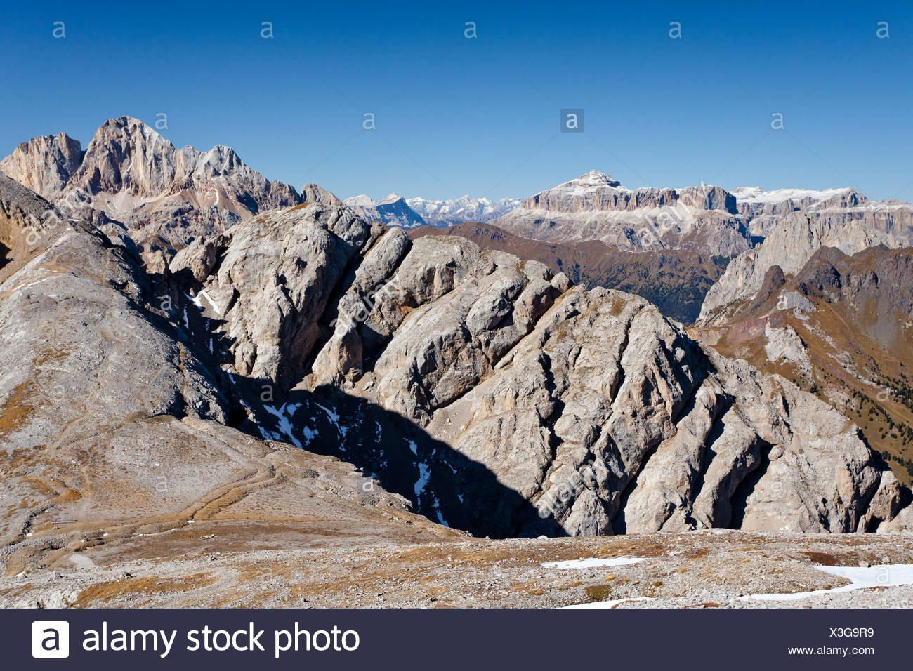 At the Bepi Zac via ferrata in the San Pallegrino valley, above San Pellegrino Pass or Passo San Pellegrino Stock Photo