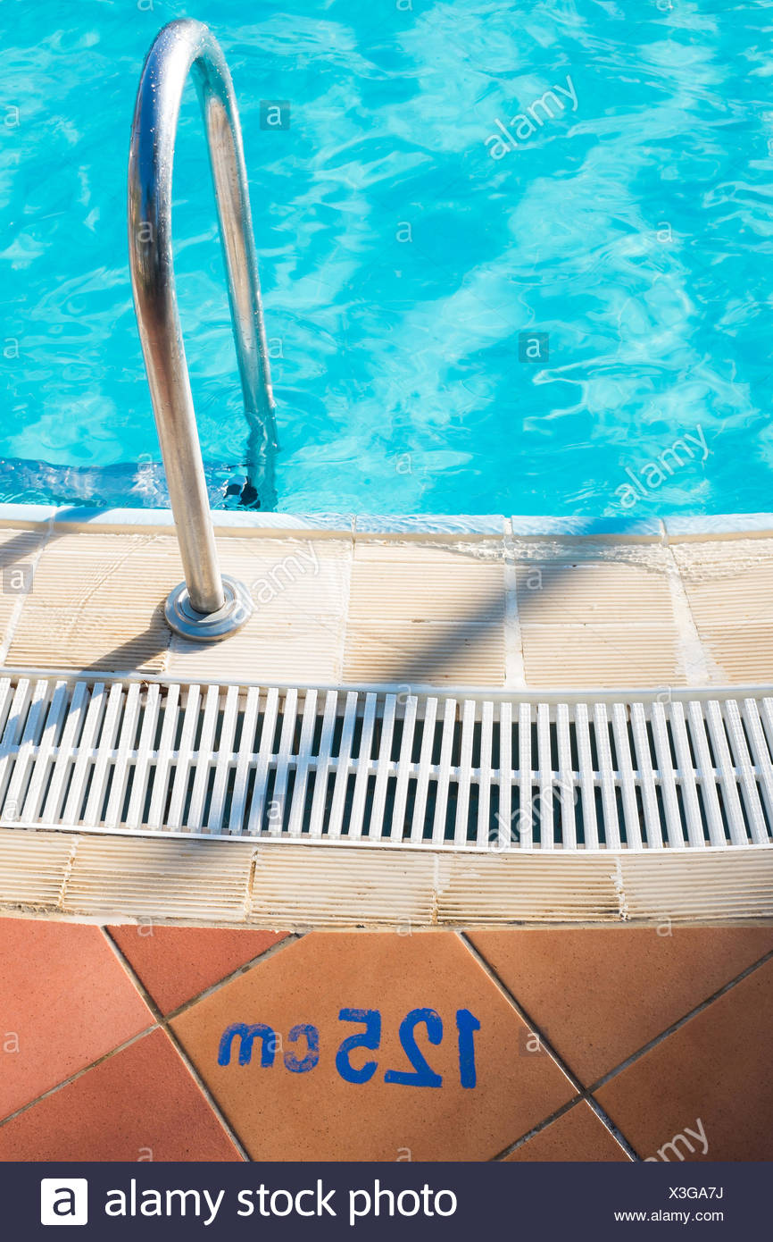 Swimming pool, ladder, entrance, water depth 125 cm, - Stock Image