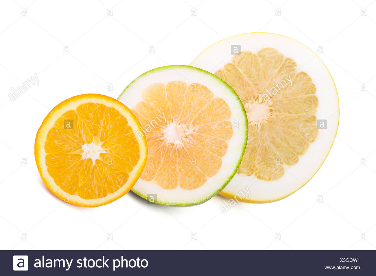 Pomelo, sweetie and orange - Stock Image