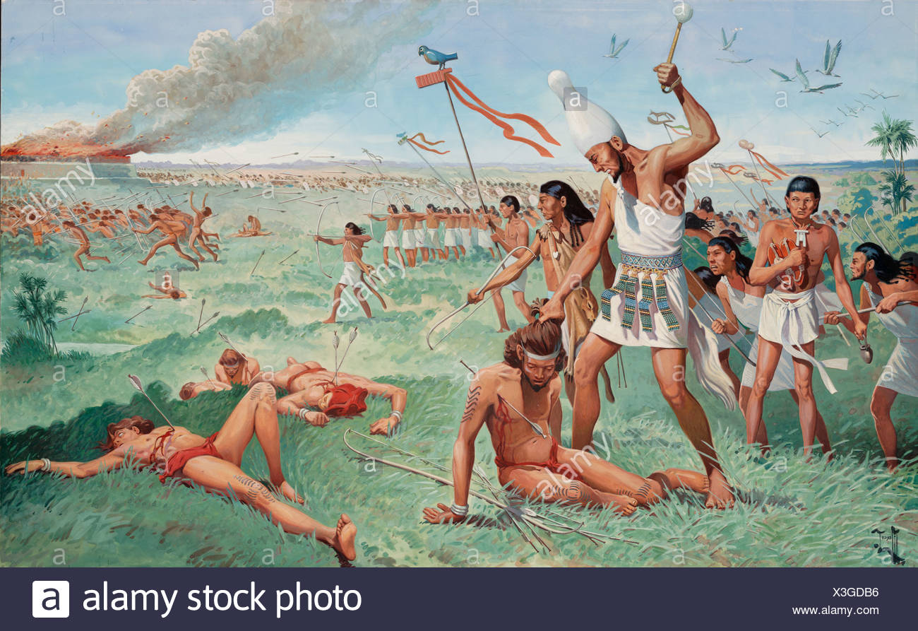 A king of Upper Egypt fights in battle to conquer Lower Egypt. - Stock Image