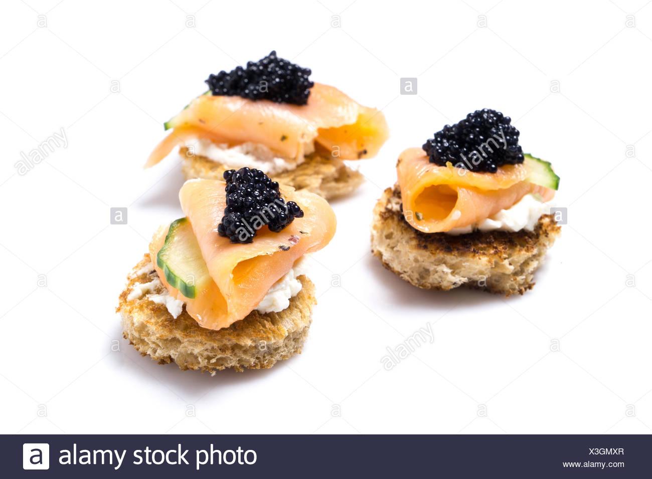 Smoked Salmon Canapes - Stock Image