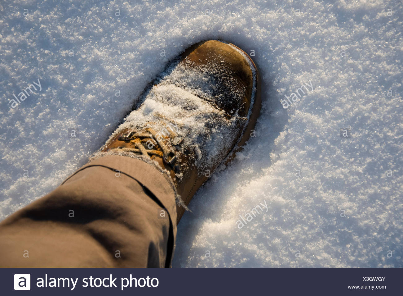 winter brown brownish brunette hike go hiking ramble snow migrate shoe aerial Stock Photo
